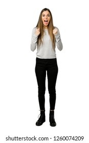 Full-length shot of young girl frustrated by a bad situation on isolated white background