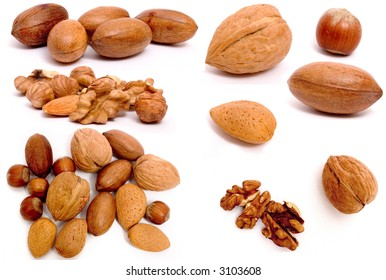 Full-size composite photo of various isolated nuts with realistic drop shadows for depth on white background. Contains hazel, almond, walnut and pecan