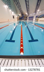 Full-size indoor swimming pool suitable for international sporting events.