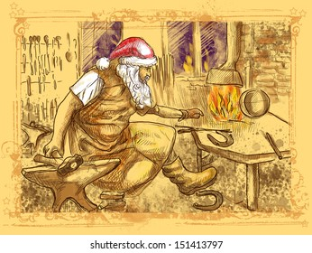 Full-sized (original) hand drawing. Christmas theme. Santa Claus in the smithy manufactures horseshoes (for his reindeer). Color version (no.3)
