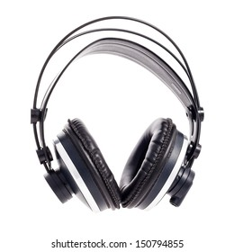 Full-sized, professional headphones against a white background.