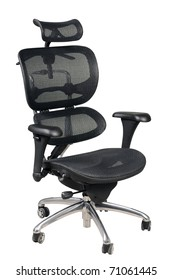 Fully adjustable ergonomic office chair isolated on white background.