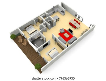 fully furnished modern interior designed architect home viewed in 3d