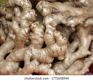 Fully grown fresh ginger roots for sale at a market stall
