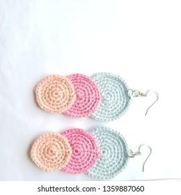 Fully handmade earrings crocheted neatly.