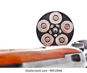 fully loaded chamber of revolver handgun