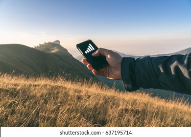 Fully signal cellphone network,Best sign for communication coverage,best contact signal device,Hand holding smart phone searching fully signal,Selective focus and vintage tone.