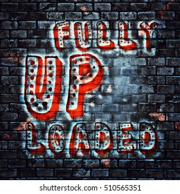 Fully Uploaded text abstract graffiti painted wall illustration sign
