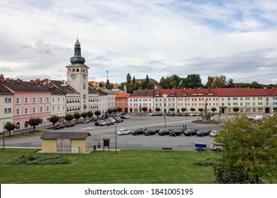 FULNEK, CZECH REPUBLIC - OCTOBER 7, 2020: The main Komensky town square (namesti Komenskeho) in the center of Fulnek city in Czech republic with town hall and bus stop
