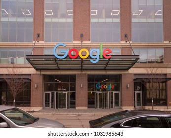 FULTON MARKET, CHICAGO-February 23, 2018. Google Corporate Campus is located on N. Morgan Street in Chicago's Fulton Market neighborhood.