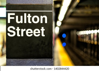Fulton street subway station sign