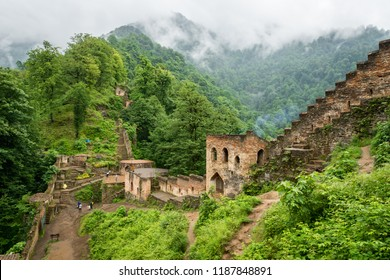 Fuman, Iran - June 2018: Rudkhan Castle architecture in Iran. Rudkhan Castle is a brick and stone medieval castle, located 25 km southwest of Fuman city north of Iran in Gilan province.