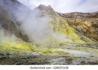 Fumarole ejecting steam on White Island, New Zealand