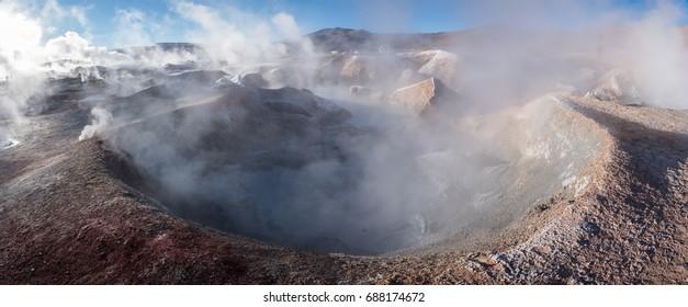 Fumaroles, geothermal area. Active planet. Altiplano, Bolivia, South America