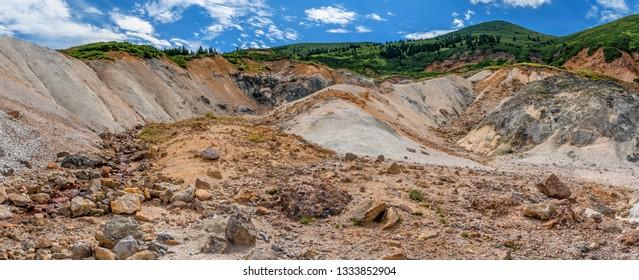 fumarolic field at the Mendeleev volcano at Kunashir island, Russia