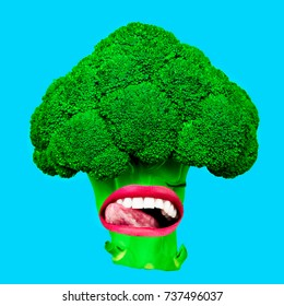 Fun Art collage Vegan Vibrations Broccoli and lips. Contemporary positive  art