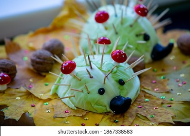 Fun autumn crafts concept.Using autumn fruits,vegetables, chestnuts and oak acorns to make fun animals.
