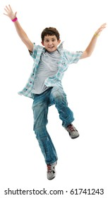 Fun boy jumping a over white background