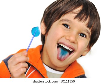 Fun, candy on tongue