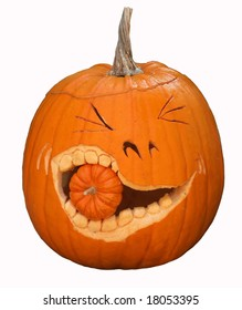 fun carved pumpkin with smaller pumpkin in mouth