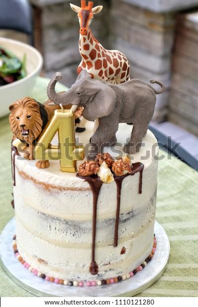 Pleasant Fun Child Jungle Animal Theme Birthday Stock Photo Edit Now Personalised Birthday Cards Cominlily Jamesorg