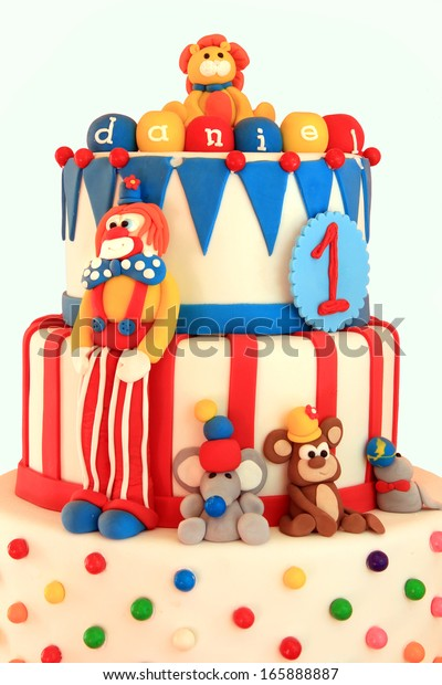 Groovy Fun Circus Themed Birthday Cake Stock Photo Edit Now 165888887 Funny Birthday Cards Online Elaedamsfinfo