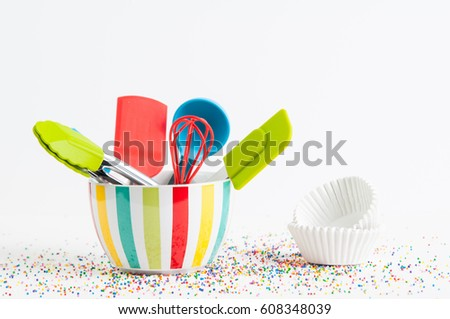 Fun Colorful Kitchen Utensils Cupcake Wrappers Stock Photo ...