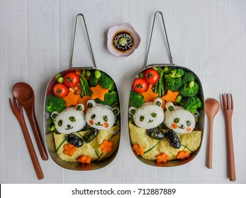 Fun and delicious homemade vegetarian meal with animated shaped food / Sleeping Panda Bento Box Meal / Meat-free diet for a healthy and clean living lifestyle,ideal for weight watcher,working couples