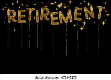 Fun design. Happy retirement! Gold foil style balloons and stars on white. Fun design.Pension age at last!