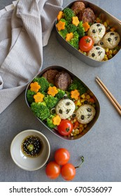 Fun and easy homemade vegetarian meal with animated shapes food / Panda Bento Box / Meat-free diet for a healthy and clean living lifestyle,ideal for weight watcher,busy working couples