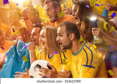 Fun Fans in stadium arena