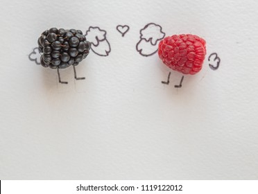Fun food art for kids - raspberry lamb is in love with sheep blueberries