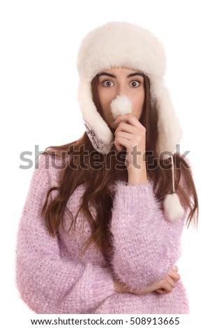 fun girl winter hat making nose stock photo edit now 508913665