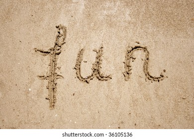Fun handwritten in sand for natural, symbol,tourism or conceptual designs