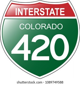 Fun Interstate 420 in the state of Colorado, with green background.