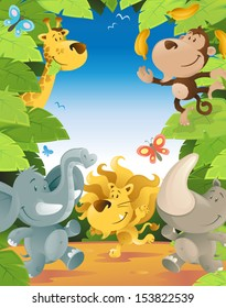 Fun Jungle Animals Border.