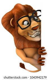 Fun lion - 3D Illustration