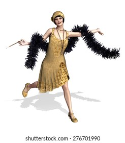 A fun loving flapper girl with a feather boa - 3D render