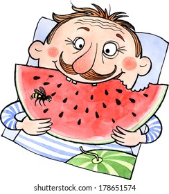 Fun man eating water melon. Watercolor and ink illustration.