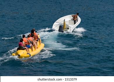 Fun on a banana boat on the Mediterranean coast of Turkey