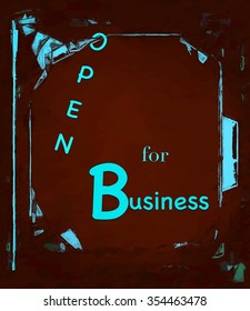 Fun Open for Business sign abstract text illustration swinging saloon style ad