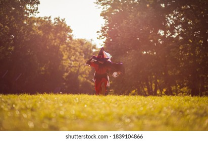 Fun in the park.  Little girl in witch suit running trough nature.