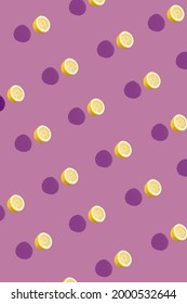 Fun pattern with lemons against purple background. Minimal creative summer concept.
