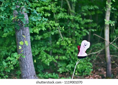 Fun picture of a pink glove with a drawn face hung on a branch in a forest