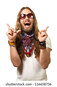 Fun portrait of a happy, surprised hippie man pointing up at copy-space. Isolated on white.