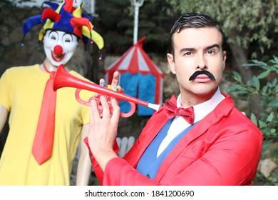 Fun ringmaster in the circus