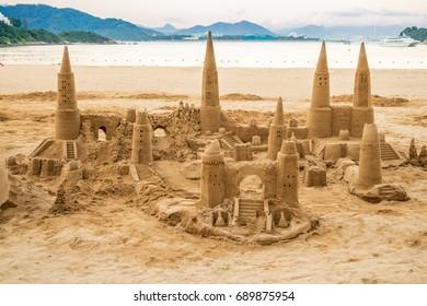 Fun Sand castle activity on the beach