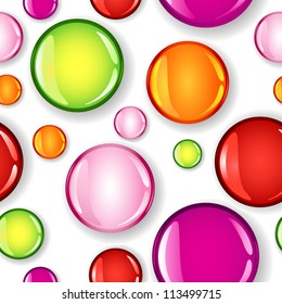Fun seamless pattern made of different size glossy circles or bubbles in pale and dark pink, red, lime green and orange, all with shadows over white background.