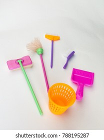 Fun set for children's of cleaning on a white background