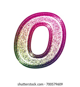 Fun stamped ink fading pink to green style uppercase or capital letter O in a 3D illustration with a light colorful painted glitter sparkly effect isolated on a white background with clipping path.